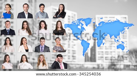 Portraits of people near map with icons on the city background. Elements of this image furnished by NASA - stock photo