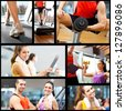 Portraits of people training in a fitness club  - stock photo