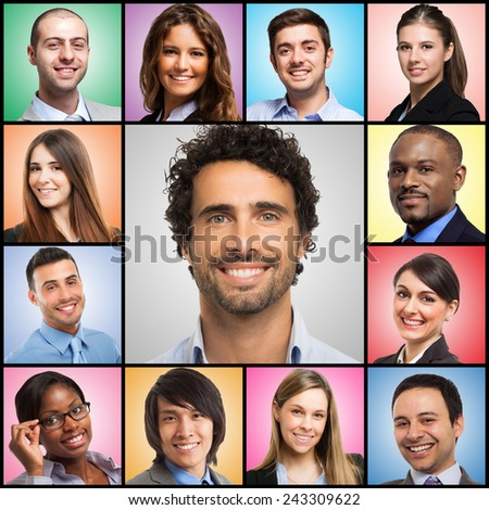 Portraits of smiling people - stock photo