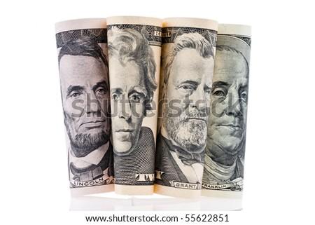 Portraits on the dollar bills of U.S. banknotes - stock photo