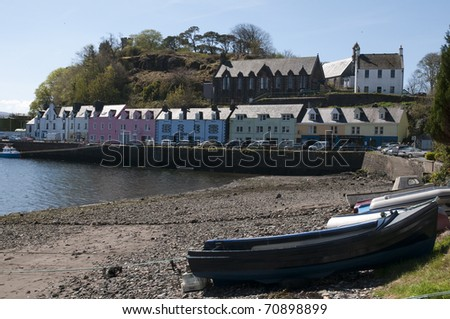 Portree on the Isle of Skye Scotland - stock photo