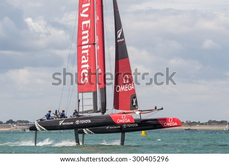 PORTSMOUTH, UK JULY 25, 2015: First qualifying event that will count towards the 2017 America's Cup Challenger Series, the winner will take on Oracle in the 2017 America's Cup - stock photo