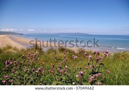 Portstewart Strand in Northern Ireland on a sunny summer day - stock photo