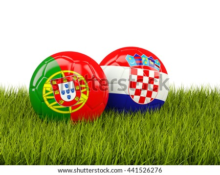 Portugal and Croatia soccer balls on grass. 3D illustration - stock photo