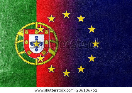 Portugal and European Union Flag painted on leather texture - stock photo