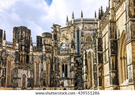 Portugal architecture. Batalha Dominican medieval monastery - stock photo