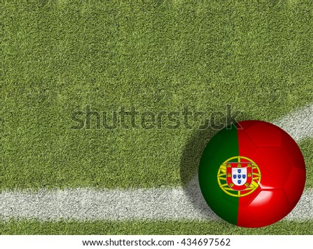 Portugal Ball in a Soccer Field