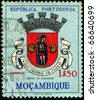 PORTUGAL - CIRCA 1967: A stamp printed in Portugal shows coat of arms Quelimane from Mozambique - stock photo