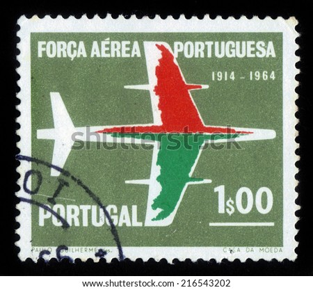 Portugal - CIRCA 1965: A stamp printed in Portugal, shows silhouette of the aircraft, 50 anniversary of the Air Force, series Portuguese Air Force, circa 1965 - stock photo