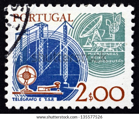 PORTUGAL - CIRCA 1978: a stamp printed in the Portugal shows Communications, Old and New, circa 1978