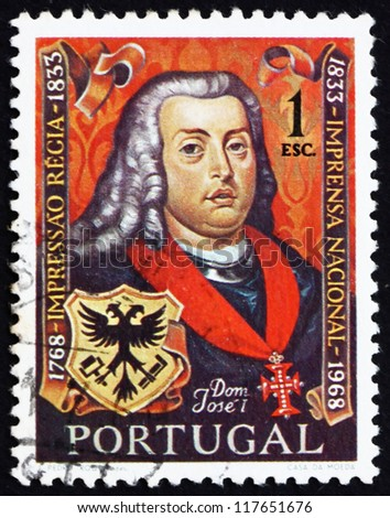 PORTUGAL - CIRCA 1969: a stamp printed in the Portugal shows King Jose I, King of Portugal and Algarves, and Arms of National Press, Bicentenary of the National Press, circa 1969 - stock photo