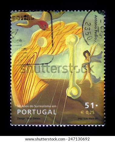 PORTUGAL - CIRCA 1999: a stamp printed in the Portugal shows painting by Antonio Pedro da Costa, series surrealism, circa 1999 - stock photo
