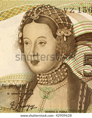 PORTUGAL - CIRCA 1980: Dona Maria on 50 Escudos 1980 Banknote from Portugal. Queen of Portugal and the Algarves during 1777-1816.