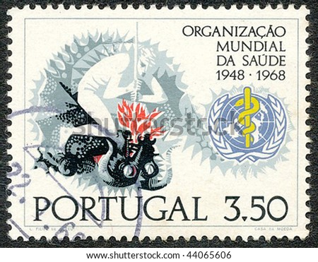 PORTUGAL - CIRCA 1968: Stamp printed by the Portuguese Post to commemorate 20 years of the WHO (World Health Organization), circa 1968
