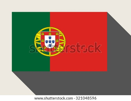 Portugal flag in flat web design style. - stock photo