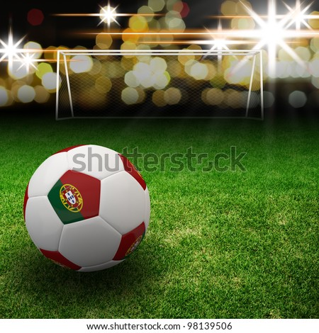 Portugal flag on 3d football for Euro 2012 Group B - stock photo