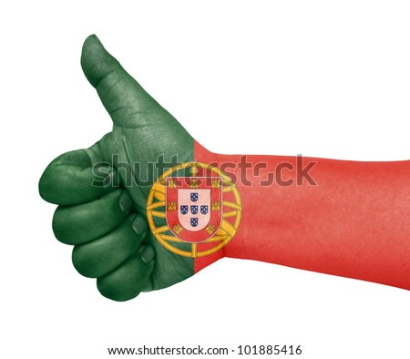 Portugal flag on thumb up gesture like icon - stock photo