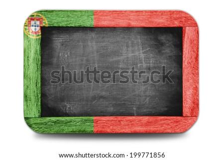 Portugal flag soccer 2014 framed small chalkboard - stock photo