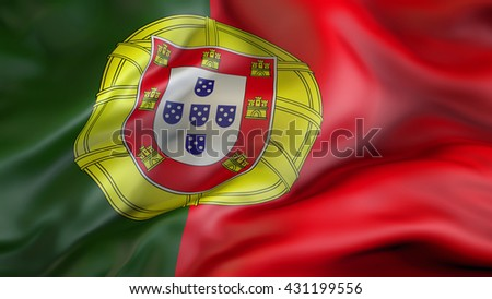 Portugal flag waving in the wind 3d rendering - stock photo
