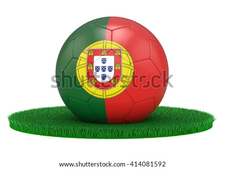 Portugal Football ball with flag on green grass, 3D-Rendering