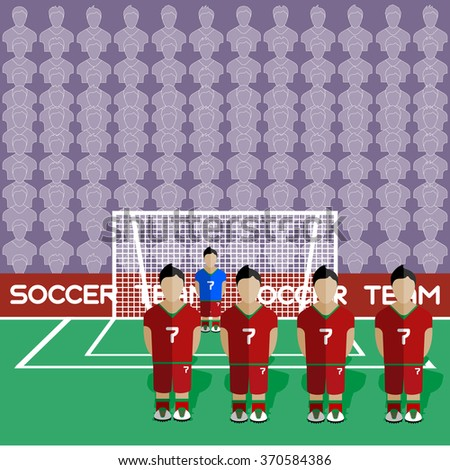 Portugal Football Club Soccer Players Silhouettes. Computer game Soccer team players big set. Sports infographic. Football Teams in Flat Style. Goalkeeper Standing in a Goal. Raster illustration. - stock photo