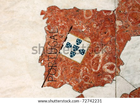 Portugal Lisbon Belem Detail of huge wind rose laid in marble depicting the Portuguese discovery expeditions - map of  Portugal - stock photo