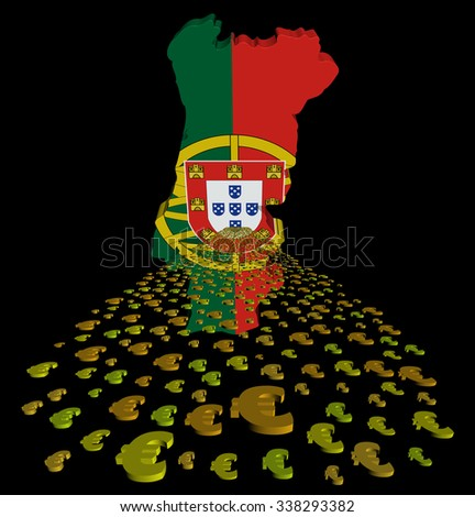 Portugal map flag with euros foreground illustration - stock photo