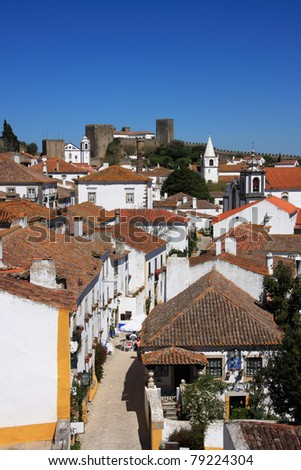 Portugal Obidos picturesque medieval town  - historical center and defensive wall