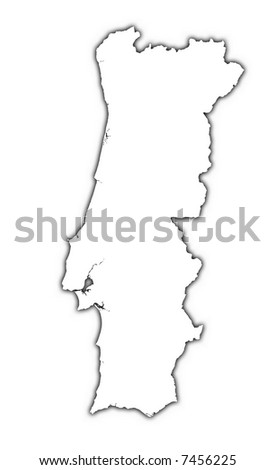 Portugal Map Black White Mercator Projection Stock Vector - Portugal map black and white