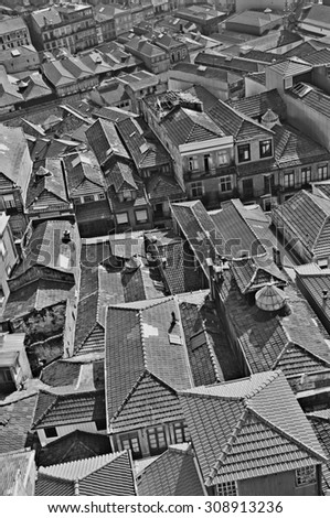 Portugal. Porto city. Aerial view over the city. In black and white - stock photo