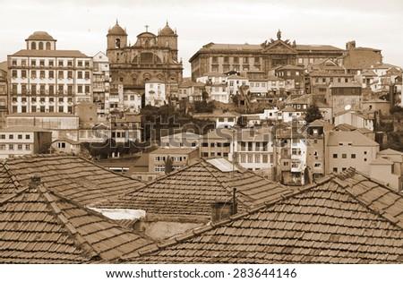 Portugal. Porto city. Aerial view over the city. In Sepia toned. Retro style  - stock photo