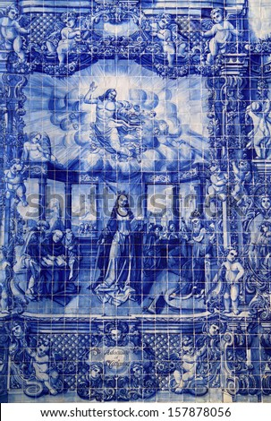 "Portugal, Porto, Important historical blue and white ceramic ""Azulejo"" tiles depicting Saint Catherine speaking to elders - stock photo"