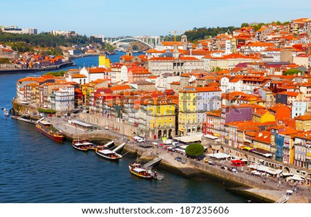 Portugal, Porto, view of the city and Douro's river early in the morning - stock photo