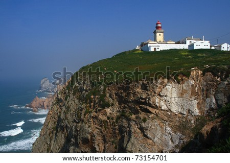 "Portugal Sintra Lighthouse at Cape Roca ""Cabo da Roca"" Continental Europe's most eastern point"