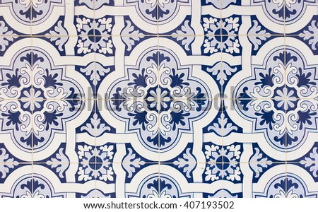 portugal tiles closeup - stock photo