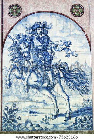 "Portugal Typical Portuguese blue and white ""azulejo"" ceramic tiles depicting horseman""Cavalier"""