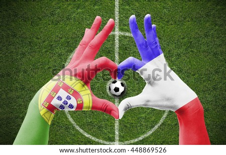 Portugal vs. France Friendship with soccer background