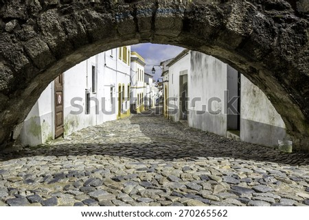 Portuguese Alentejo city of Evora, old town, partially enclosed by medieval walls, as a large number of monuments, from various historical periods, including a Roman Temple, UNESCO World Heritage Site