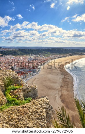 Portuguese destination, Nazare, view of the city and the beach from Sitio - stock photo