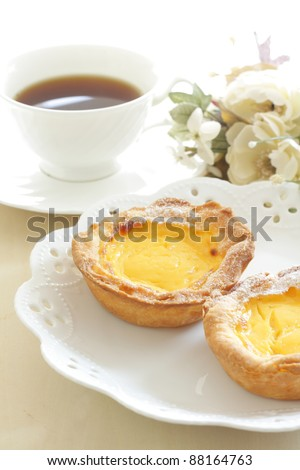 portuguese egg tart and coffee  in Macao