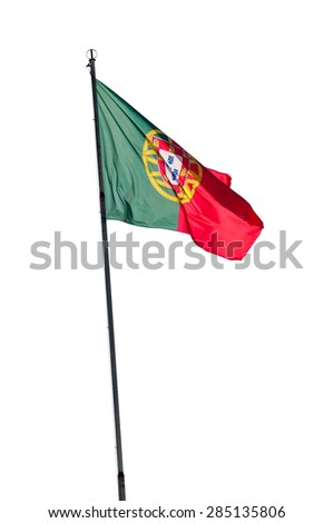Portuguese flag on a pole isolated on white background with clipping path - stock photo
