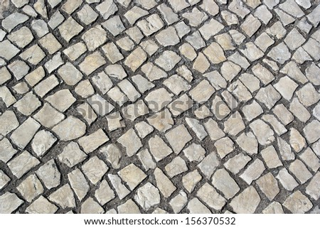 Portuguese pavement, Calcada portuguesa - stock photo