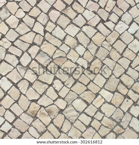 Portuguese pavement limestone texture. Lisbon - stock photo