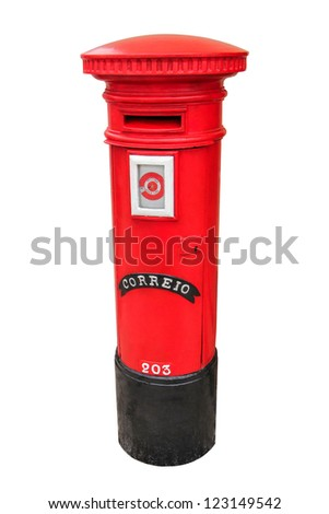 Portuguese red mail box isolated on white background