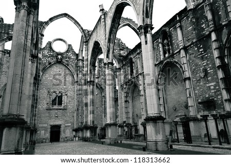 Portuguese ruined gothic church in Lisbon, Portugal
