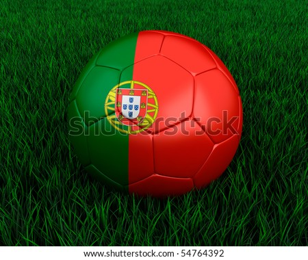 Portuguese soccer ball in grass.