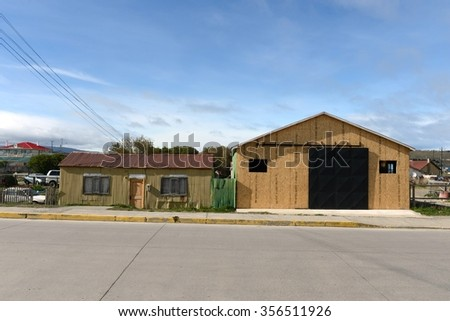 PORVENIR, CHILE - NOVEMBER 12,2014: Porvenir is a village in Chile on the island of Tierra del Fuego. The administrative centre of the municipality and the province of Tierra del Fuego .