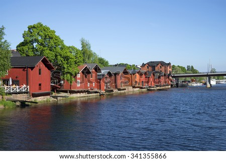 PORVOO, FINLAND - JUNE 13, 2015: Embankment of old barns on a summer day