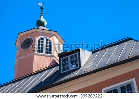 Porvoo, Finland - June 12, 2015: Small tower on the roof of town hall building