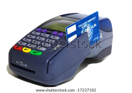 POS terminal and credit card processing close up and isolated on white